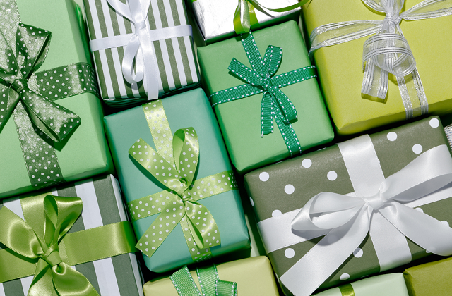 green cardboard gift boxes