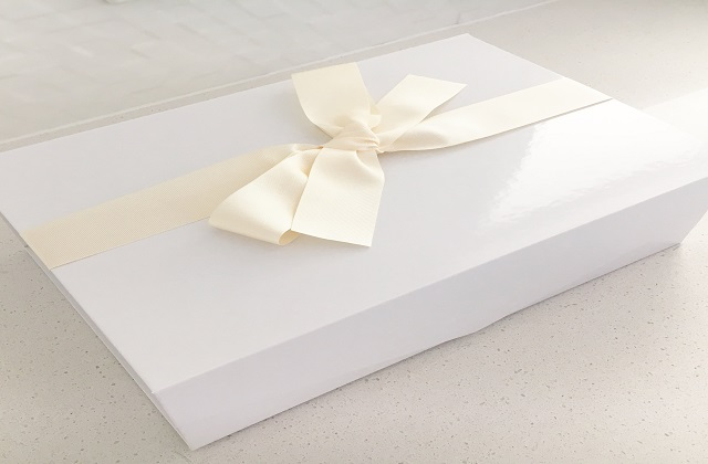 luster coated white boxes